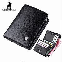 WILLIAMPOLO Men's Trifold Wallet Genuine Leather Zipper Coin Pocket Purse For Men Business Top Brand Short Wallet 3 Folds Design