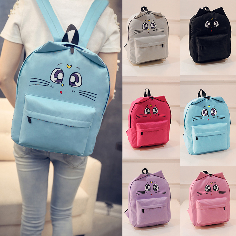 Women Canvas Backpacks Cat Eyes Animal Printing School Bags For Teenagers Girl Rucksack Laptop Bagpack
