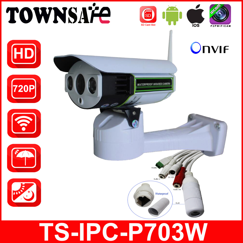 TOWNSAFE TS-IPC-P703W Wifi Wireless HD 720P CCTV Bullet IP Camera Pan/Tilt Security Cam ONVIF H.264 SD Card Slot Array IR LED wifi ipc 720p 1280 720p household camera onvif with allbrand camera free shipping
