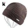 2017 Winter Mens Beanie Hat Bonnet Knitted Hat Plus Velvet Cap Skullies Thicker Touca Fringe Beanies For Men Keep Warm Caps