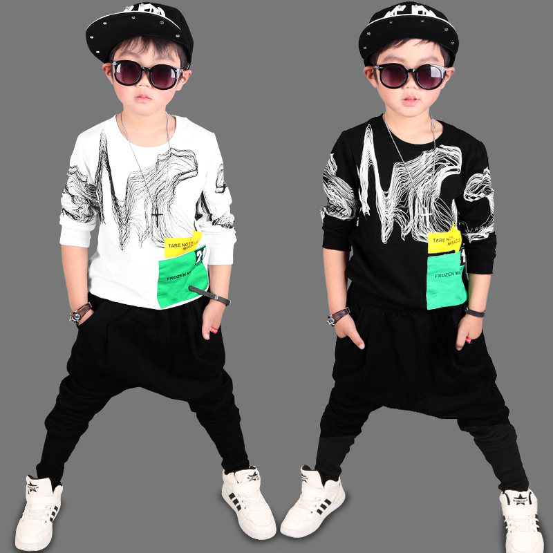 Children Sports Suits For Boys Top + Harem Pants 2 Pcs Clothing Sets 4 Print Cotton Boys Tracksuits Spring Kids Sports Wear 9 10 spring newborn suits new fashion baby boys girls brand suits children sports jacket pants 2pcs sets children tracksuits