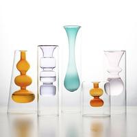 Creative color glass vase flower arrangement hydroponic transparent flower home desktop decoration ornaments