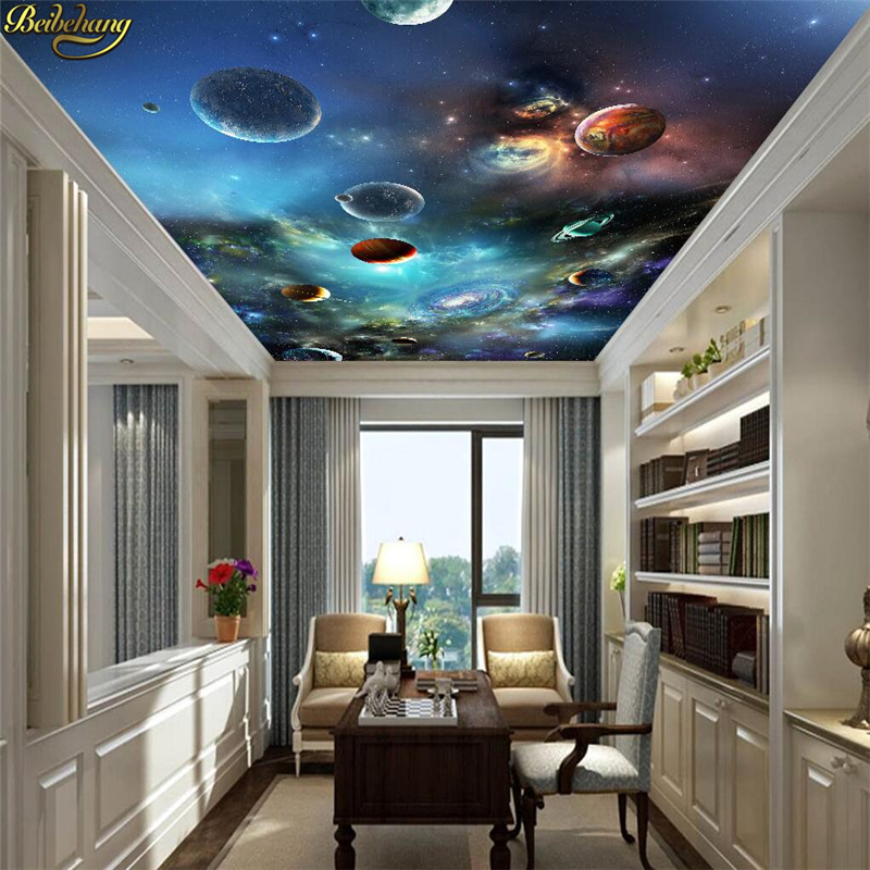 beibehang Solar system planet ceiling wallpaper for wall minimalist bedroom living room TV backdrop abstract 3D mural wall paper