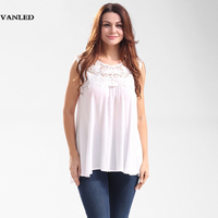 VANLED White Pleated Women Sexy Lace Embroidered Loose Tank Top Plus Size Summer Sleeveless Transparent Shirt