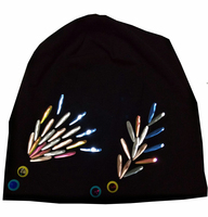 B 17816 Fashion 100 Cotton Good Stretch Water Droplets Crystal Beanies Colors Crystals Flower Hat Solid