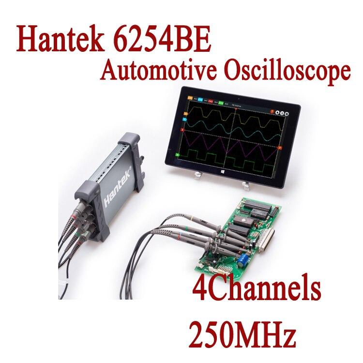Automobile Oscilloscope USB Hantek 6254BE 4 Canaux 250 MHz Osciloscopio Portable PC Oscillographe Électronique De Diagnostic-outil