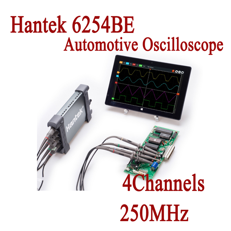 Automotive Oscilloscope USB Hantek 6254BE 4Channels 250MHz Osciloscopio Portable PC Oscillograph Electronical Diagnostic-tool hantek pp 200 digital oscilloscope probe 200mhz bandwidth x1 x10 for automotive usb pc osciloscopio portatil diagnostic tool
