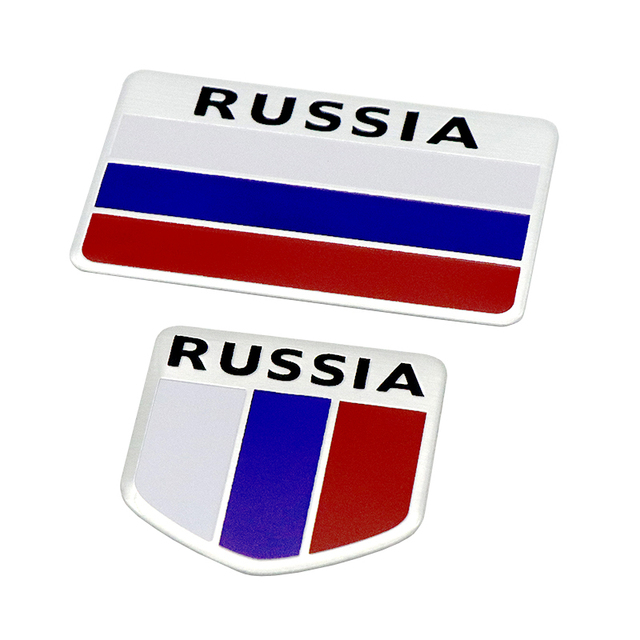 New And High Quality 3d Aluminum Russia Flag Car Sticker Accessories