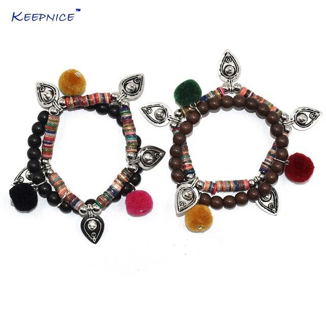 b406a6e8246a Bohemia étnica amistad pulsera pompones de colores pulseras Rosario con  cuentas brazalete pulseras