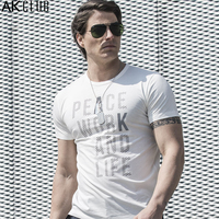 AK CLUB Men Brand T Shirt Mercerized Cotton Tshirt Letter Offset Printing T Shirt Slim Fit