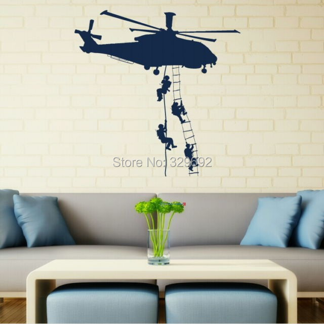 Bedroom Wall Art aliexpress : buy army helicopter vinly sticker adhesive wall