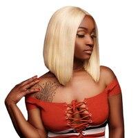 613 блонд парик фронта шнурка 150% плотность короткие человеческие волосы парики бразильские волосы remy натуральные волосы цвета блонд парики ...