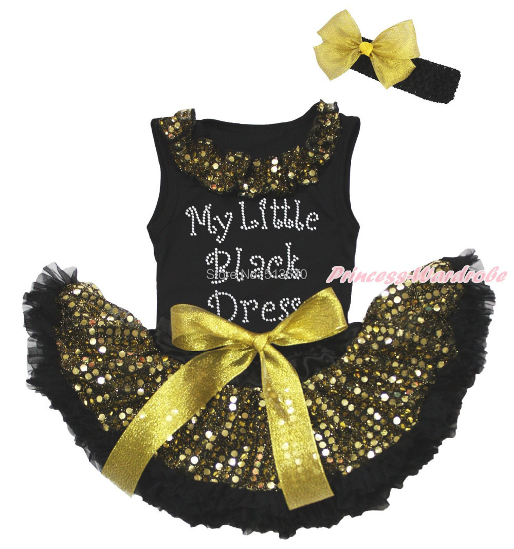 Rhinestone My Little Black Dress Black Top Gold Sequin Newborn Baby Skirt 3-12M MAPSA0462 цена и фото