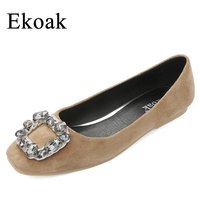 Ekoak New 2017 Spring Autumn Black Crystal Women Flats Fashion Leather Pig Suede Women Casual Shoes