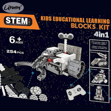 DIY RC Blocks 4-in-1 Construction Set RC Robotic Vechicles Motorized Space Exploration Science Robots STEM educational Model kit(China)