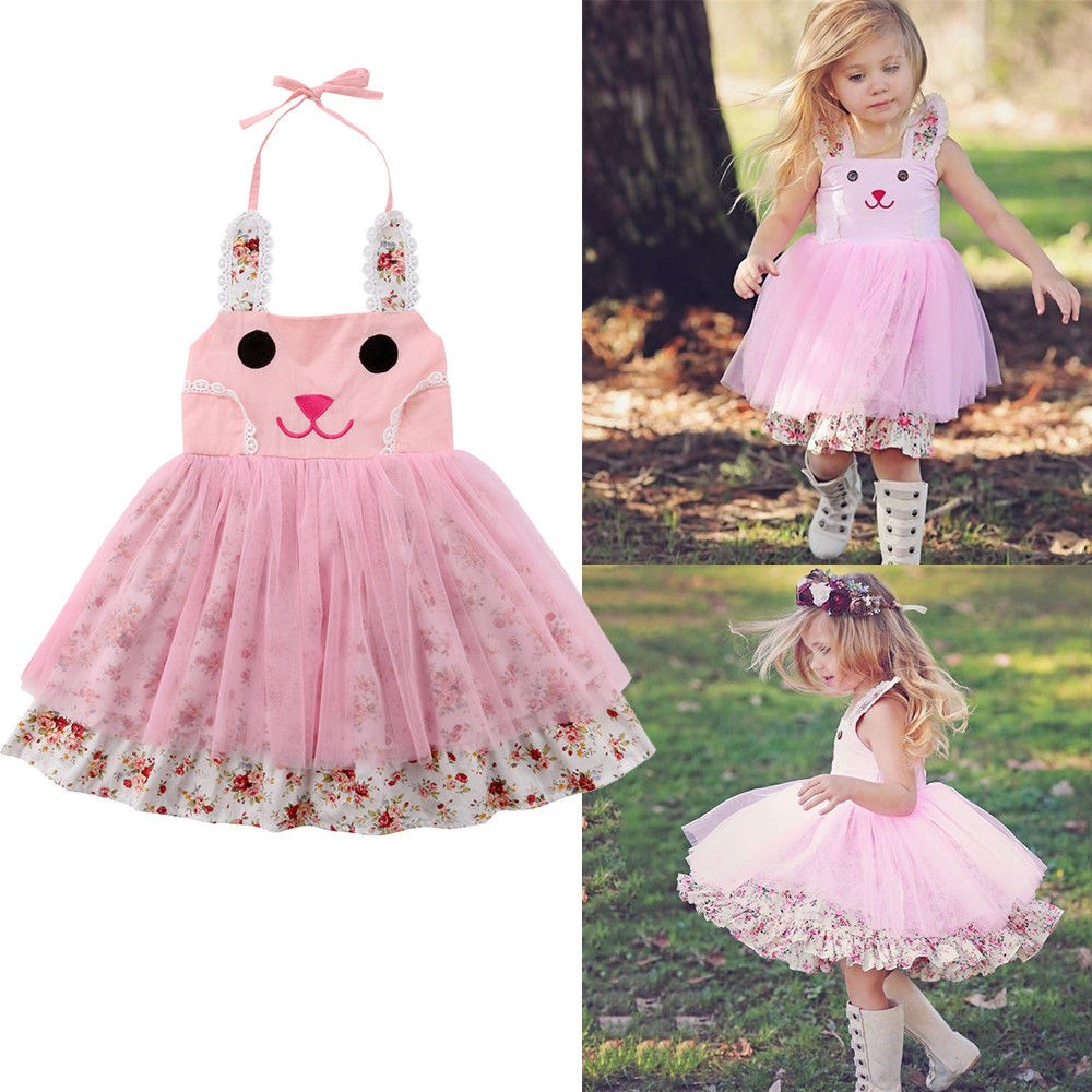 405705a15c2d4 Newborn Infant Girls Dresses Easter Bunny Rabbit Ear Cartoon Princess Mesh  Dress Tulle Tutu Party Princess