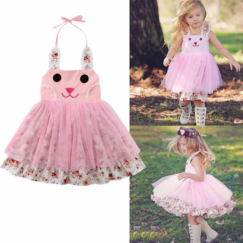 302a1f43ccbc Newborn Infant Girls Dresses Easter Bunny Rabbit Ear Cartoon Princess Mesh  Dress Tulle Tutu Party Princess