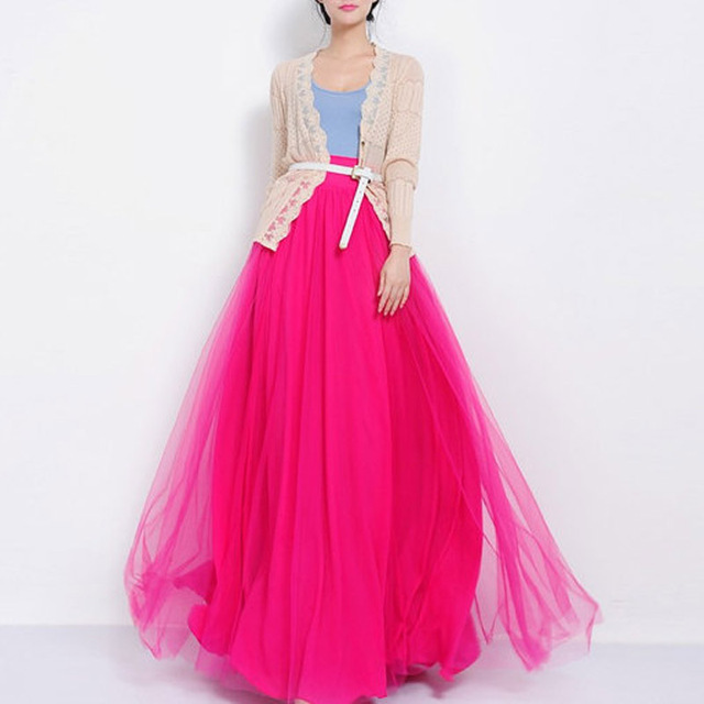 1454e034c7f Amazing 2017 Long Tulle Skirt High Waist Floor Length Hot Pink Maxi Skirt  for Women Summer Autumn Tutu Custom Made Plus Size
