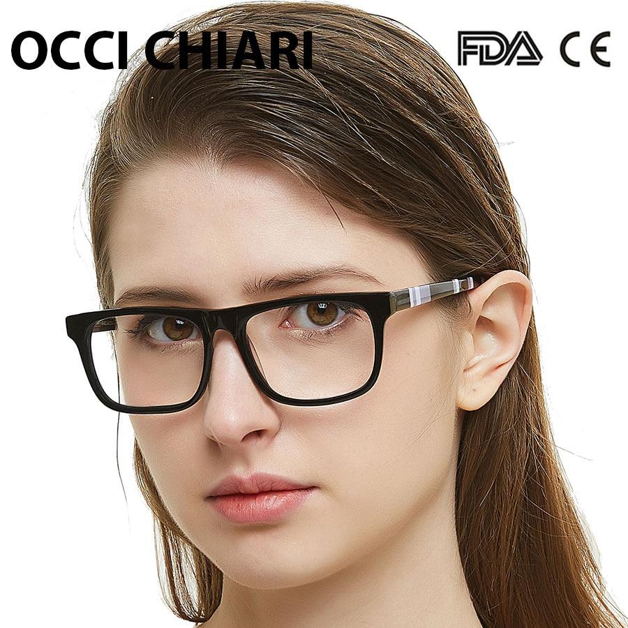 OCCI CHIARI Striped Eyewear Women Anti Blue Ray Computer Prescription Glasses New Transparent Optical Spectacle Eyeglasses Frame