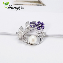 Coat-Accessories 925-Sterling-Silver Brooch Zircon Pearl Natural Women's Flower Hongye