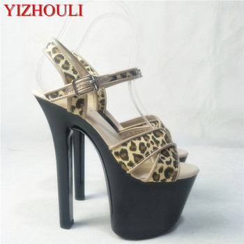 Leopard print vamp, 17cm high heel sandals, with European and American stage show Dance Shoes