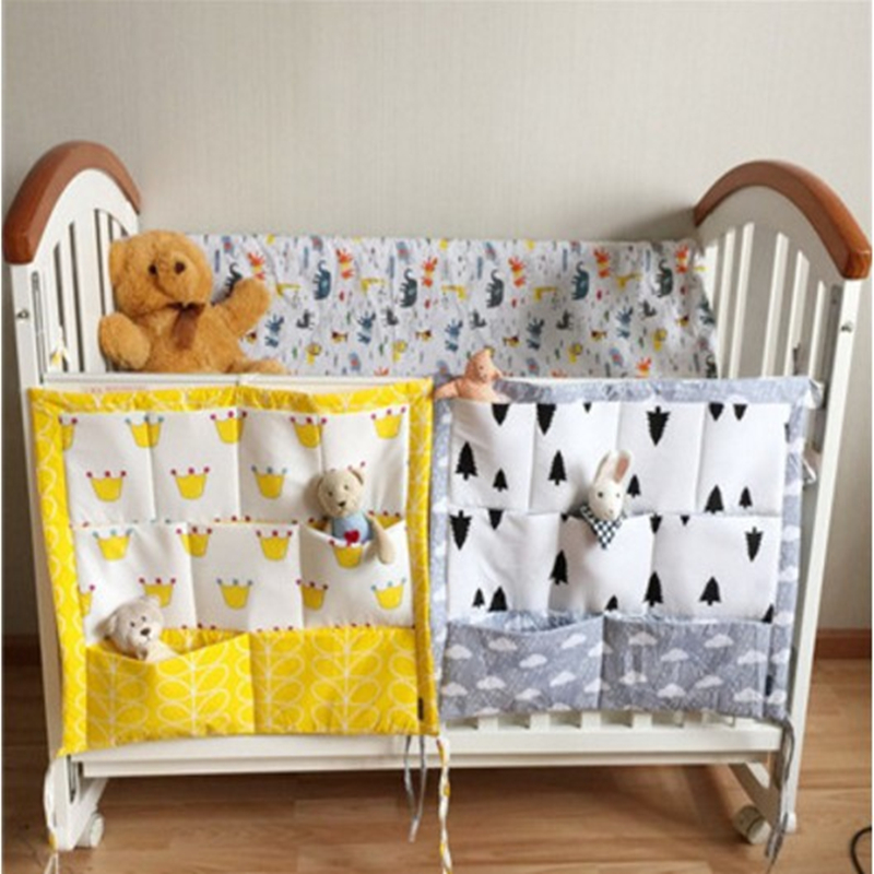 Cartoon Baby Bed Hanging Storage Bag Cotton Newborn Crib Organizer Toy Diaper Pocket For Crib Bedding Set Accessories