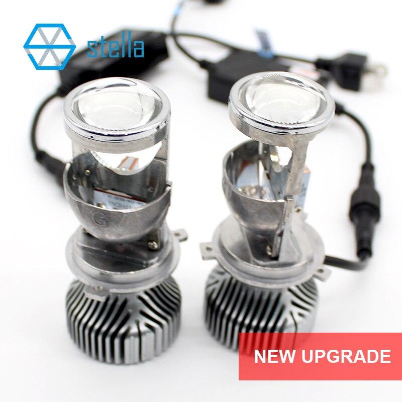 2 stks H4 LED hi-lo mini projector lens koplamp voor auto clear beam patroon 12 v 6000 k geen astigmatische probleem levenslange garantie