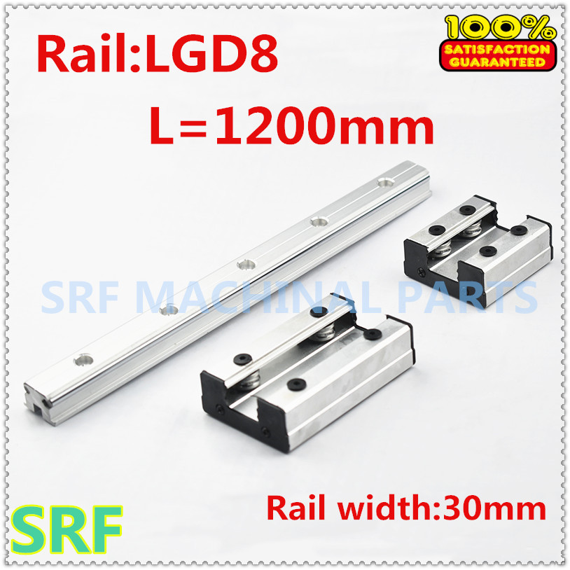 30mm width Double Axis External Guide Rail roller linear rail 1pcs LGD8 L=1200mm with 1pc 4 wheels slide block for CNC parts30mm width Double Axis External Guide Rail roller linear rail 1pcs LGD8 L=1200mm with 1pc 4 wheels slide block for CNC parts