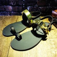 39-46 Summer Men Beach Shoes Sandals Plus Size Fashion Slides Leather Flip Flops Brand Men Black Metal Fisherman Sandal