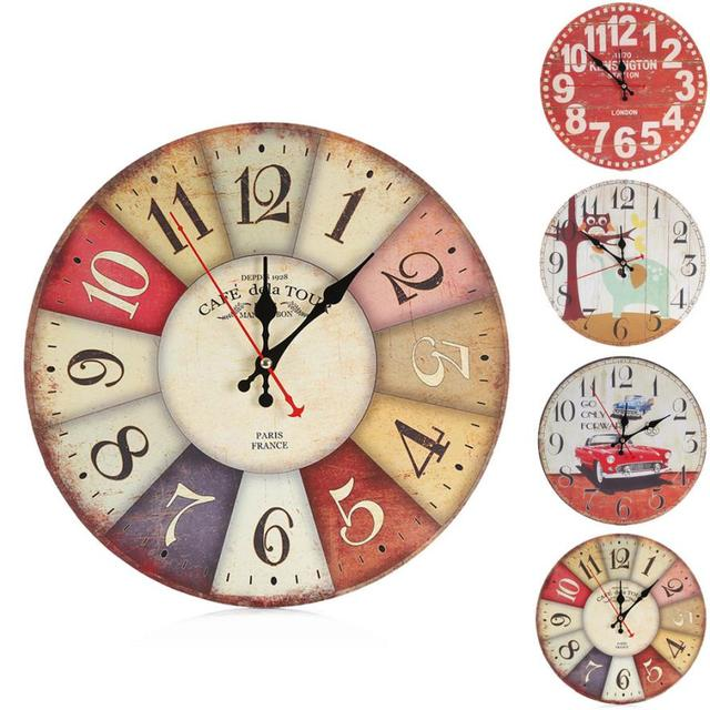 Aimecor Vintage Style Wall Clock Non Ticking Silent Antique Wood For Home Study