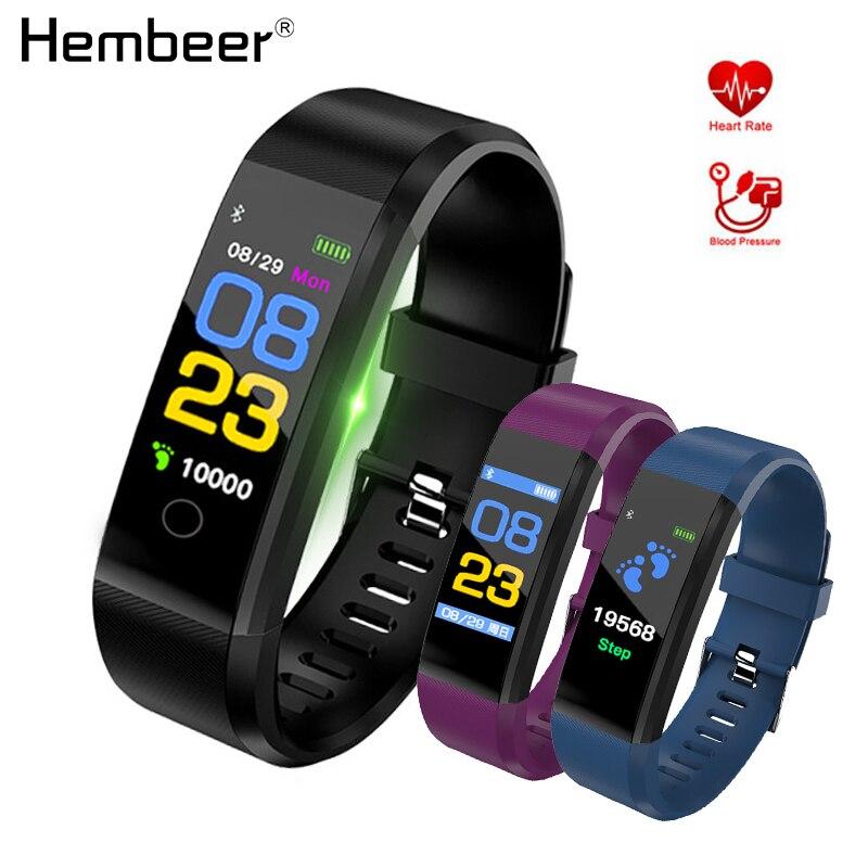 Hembeer Smart Armband Herz Rate Monitor Blutdruck Monitor Bunte Bildschirm Vibrating Wecker pk fitbits miband 3
