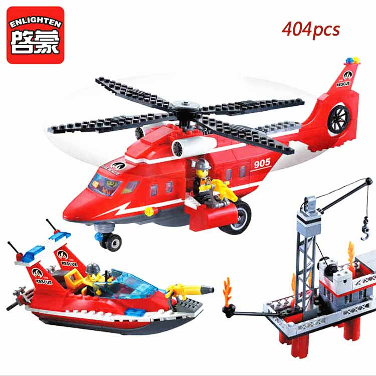 Enlighten Building Block Toy Fire Rescue Fire Helicopter Boat 404pcs Bricks Figure Brinquedos Gift For Children Compatible Legoe 607pcs enlighten building block fire rescue scaling ladder fire engines 5 firemen educational diy toy for children