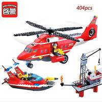 Enlighten Building Block Toy Fire Rescue Fire Helicopter Boat 404pcs Bricks Figure Brinquedos Gift For Children