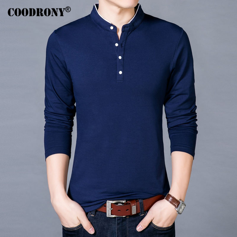 COODRONY T-Shirt Men 2018 Spring Autumn New Cotton T Shirt Men Solid Color Chinese Style Mandarin Collar Long Sleeve Top Tee 608 1