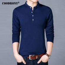 COODRONY T-Shirt Men 2018 Spring Autumn New Cotton T Shirt Men Solid Color Chinese Style Mandarin Collar Long Sleeve Top Tee 608