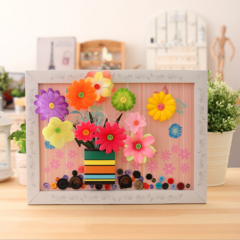 1 set diy handmade paper jigsaw frame flowers paintings educational wisdom puzzles toys baby kids early learning game gifts