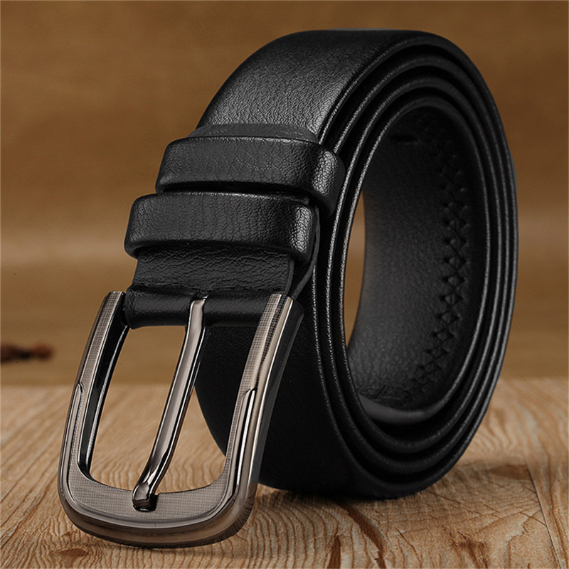LaMaxPa Men Solid   Belts   Good Leather Male Metal Buckle Fashion Luxury Brand Adjustable Casual Clothing Accessories High Quality