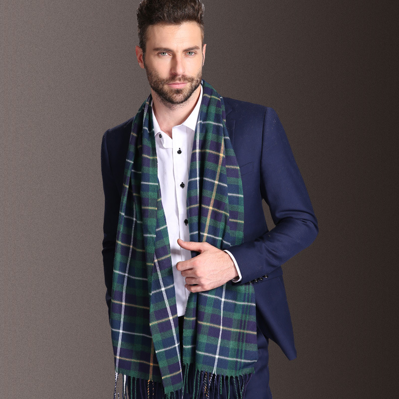 2020 New Europe Fashion Shawl Scarves Men Winter Warm Tartan Scarf Business Sjaal Plaid Cotton Wraps Bufanda Foulard