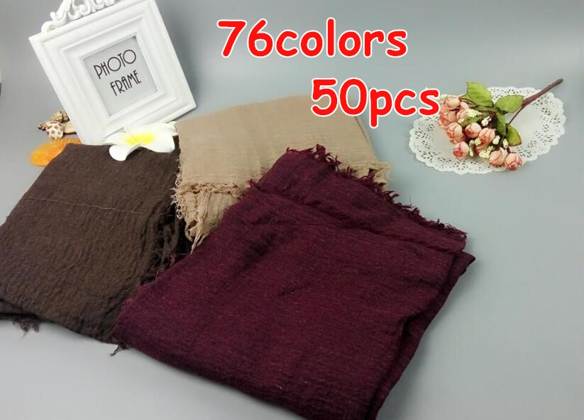 S3 50pcs crinkle cotton viscose hijab shawl   scarf   women   scarf     scarves     wrap   headband 180*90cm can choose colors