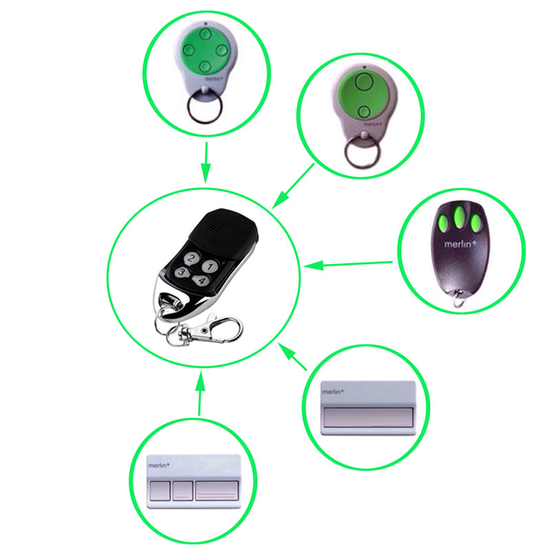 Wholesale 50 pcs Replacement Garage Gate Door Hand Transmitter Remote Control Merlin C945 C943 Merlin+ CM844 Cheap Price merlin m802 replacement garage door remote control
