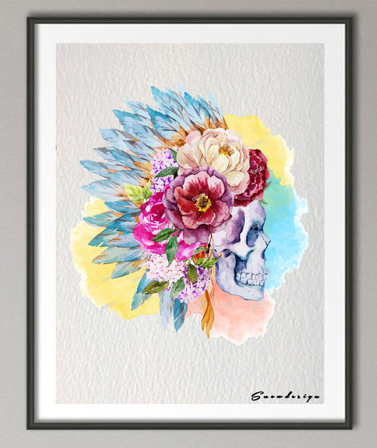 Day Of The Dead Wall Art aliexpress : buy diy original watercolor sugar skull day of