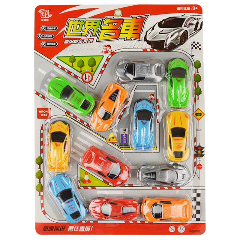 12 PCS set mini simulation sports cars toy for children boy Pull back car model Diecasts