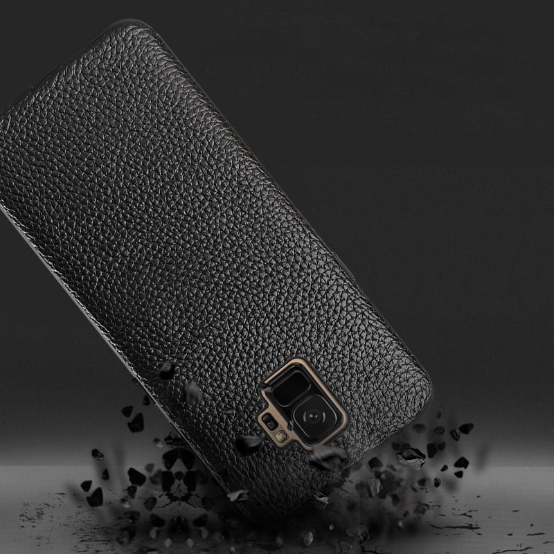 Купить с кэшбэком Genuine Leather Phone Case For Samsung Galaxy S8 S9 s10 Plus Case Litchi Texture Back Cover For S7 Edge A50 A70 A7 A8 2018 Case