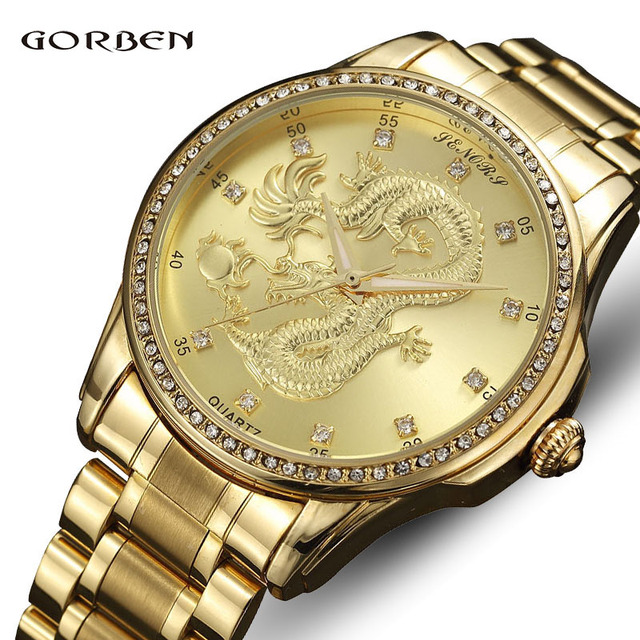 eea9435c7 Luxury Dragon Skeleton Gold Men Watch Waterproof Sports Geneva Creative  Unique Dress Hodinky Reloj Hombre Stainless Steel Clock