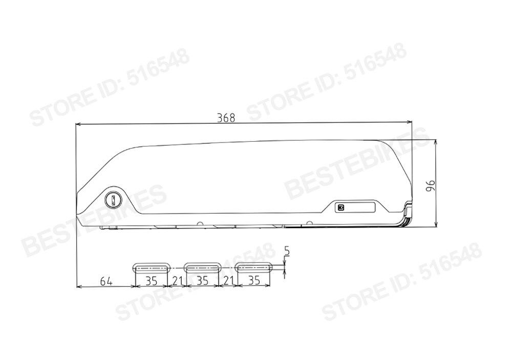 Perfect EU US Canada No tax 36v17ah lithium down tube battery for electric bike BAFANG BBS01B BBS02B 2