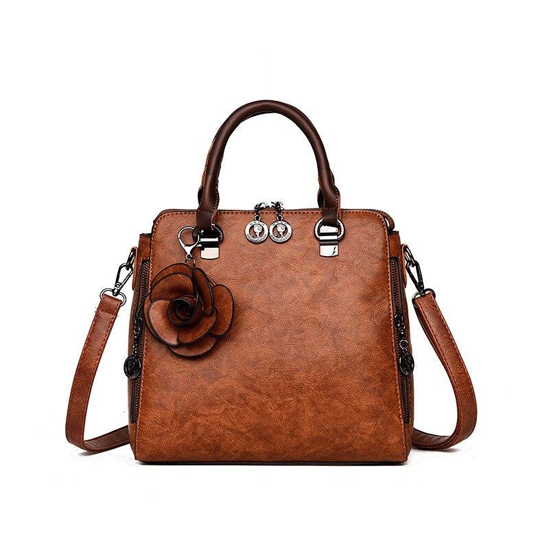Flower Women Handbags Pu Leather Female Tote Bag Brand Designer Women Shoulder Bags Ladies Hand Bag Red Zipper