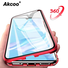 Akcoo P30 Pro Magnetic Adsorption Metal Bumper Case Cover with full body protection for Huawei Mate 20 pro Tempered glass cover