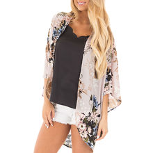 Frühling Herbst Bluse Mode Frauen Chiffon Print Schal Kimono Flügel-hülse Strickjacke Up Bluse Beachwear Vetements Femme # W(China)
