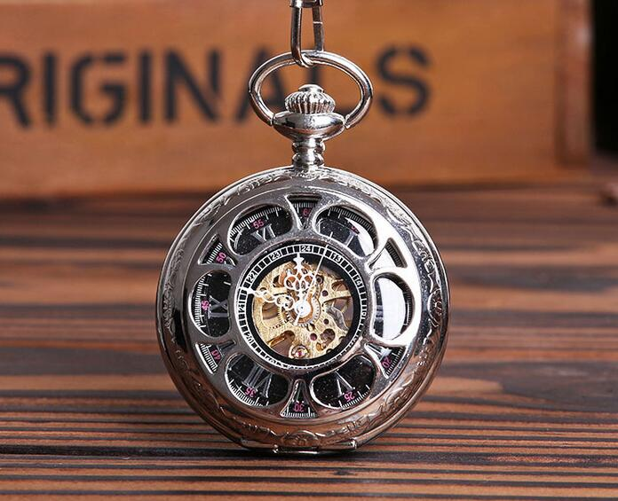Mechanical Pocket Watch Silver Hollow Petals Brown Roman Numerals FOB Chain Men Watches Gift