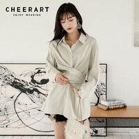 d1e16664a711c8d Cheerart Wrap Shirt Women Long Sleeve Shirt Tunic Tops And Blouses Beige  Ladies Shirt Korean Fashion